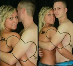 Brilliant!  If you break up, you can just get your NEW partner to get the other half done again!  Tattoo FAIL