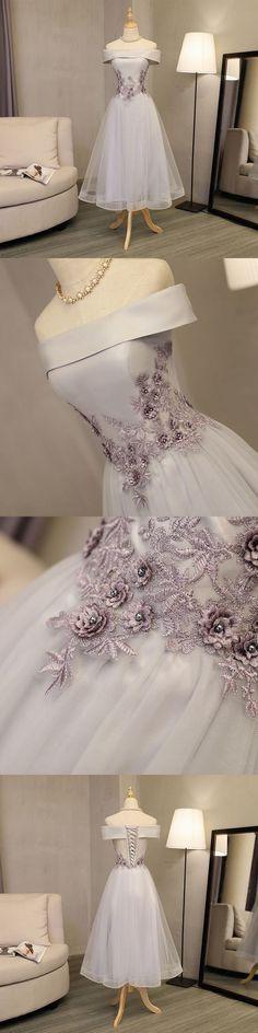 Gray A line off shoulder short prom dress, 2017 Homecoming Dress,Short #homecomingdresses