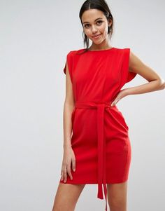 171d0cc26 Asos Belted Mini Dress with Split Cap Sleeve and Pencil Skirt Vermelho,  Vestidos Do Tipo
