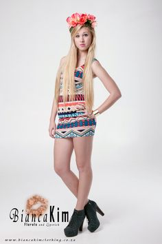 Tribal Body Con Dress and Flower Crown available from www.biancakimclothing.co.za