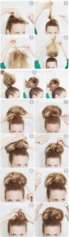 Work bun party bun tutorial.You will need: a comb, bobby pins (large + small), a small clear elastic, travel sized hairspray that fits in your purse if you plan on doing this after work without going home.