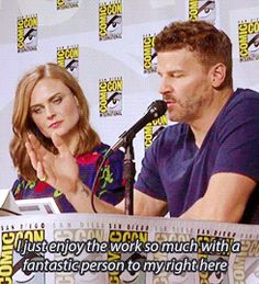 "Emily Deschanel and David Boreanaz. Comic-Con 2014. ""I just enjoy the work so much with a fantastic person to my right here, who has been there for me for so many things."" Bones"