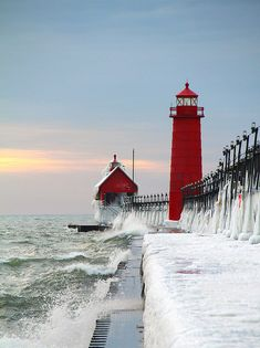 Grand Haven, Michigan  --  Frozen Lighthouse.  Captures the magnatude of winter.