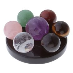 Seven Star Group Chakra Crystal Sphere Ball with Black Obsidian Stand  Price: 26.00 & FREE Shipping   #crystals