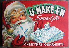 U Make Em Snow Glow Christmas Ornaments Santa Claus Snowman Original Box Vintage