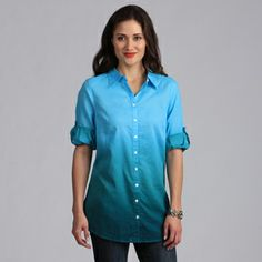 Live A Little Women's Turquoise Ombre Button-down Tunic