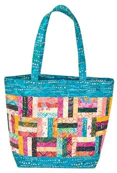 The Island Breeze Quilted Batik Tote == A PDF Sewing Pattern by Sue Pfau and Video by Colleen Tauke Sacs Tote Bags, Quilted Tote Bags, Patchwork Bags, Reusable Tote Bags, Tote Pattern, Purse Patterns, Quilting Patterns, Sewing Patterns, Patchwork Patterns