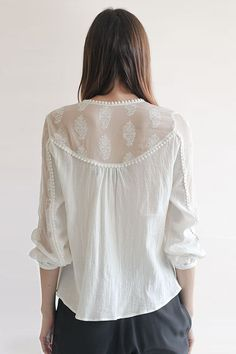 I LOVE this lace shirt yoke with pearl trim!!!