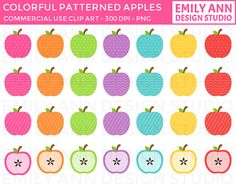 Apples Colorful Patterns Cute Clip Art  by emilyanndesignstudio, $3.50