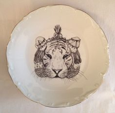 Tiger Plate. Vintage French porcelain plate with original illustration by Biarritz-based artist Little Madi.