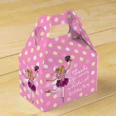 Girls Ballerina 9th birthday party thanks Party Favor Box. Original art and design by www.sarahtrett.com