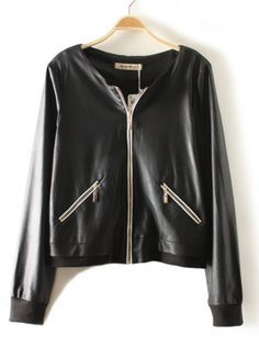 black long sleeve lapel zipper pockets PU leather coat