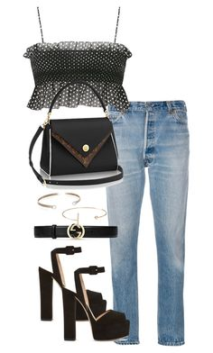 """""""Untitled #4223"""" by theeuropeancloset on Polyvore featuring RE/DONE, Giuseppe Zanotti, Gucci, Belk & Co. and Jeweliq"""