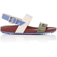 Fendi Women's Colorblocked Double-Band Sandals ($450) ❤ liked on Polyvore featuring shoes, sandals, accessories, flats, colorless, flats sandals, slingback flats, flat pumps, flat sandals and block-heel sandals