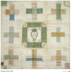 1780 Dutch darning sampler by LRGK.  Category: Merk- en stoplappen. Stoplap.