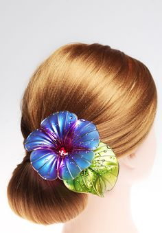 Morning-glory Transparent flower, Unusual jewelery for hair from Elena