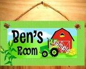 Kids Bedroom Farm Tractor DOOR SIGN in John Deere Green and Yellow Wall Art Decor