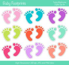 Digital clipart - Baby footprints  pink blue green red purple for Scrapbooking, Paper crafts, Cards Making, Web Designs INSTANT DOWNLOAD