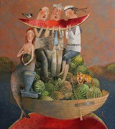 Sirena y sandías