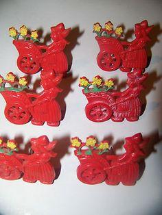 6 - Vintage Red Dutch Girl Plastic/Bakelite Curtain Pin Backs | eBay
