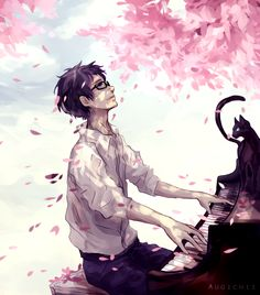 Shigatsu wa Kimi no Uso, You Lie In April Manga Anime, Fanarts Anime, Me Me Me Anime, Anime Guys, Hikaru Nara, Jouer Du Piano, Persona Anime, Miyazono Kaori, The Garden Of Words