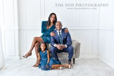 Turquoise Color Pop Family Photography