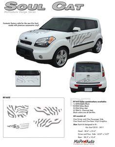"""SOUL CAT : """"Factory Style"""" Vinyl Graphics Kit for 2010 2011 2012 2013 Kia Soul Vinyl Graphics Decals Striping Kit """"Factory OEM Style"""" with Professional Automotive Vinyl at a Discount Price!"""