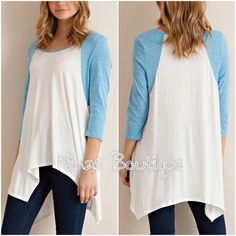 Long sleeve casual top Soft raglan tunic style top with a handkerchief hem. Please do not purchase this listing. Comment with size and I will create a new listing for you. Small (2/4) Medium (6/8) Large (10/12). Price is firm unless bundled. Tops