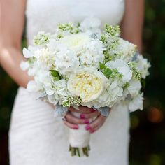 White hydrangeas, garden roses, hyacinths and lilacs rounded out Lindsay's fresh, hand-tied bouquet