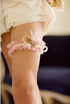 Change the pink to blue (should you need something blue) and what a unique garter!