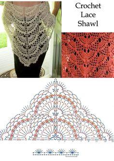 Crochet Lace Shawl free crochet graph pattern by carlasisters
