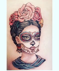 Frida Kahlo inspired sugar skull tattoo on back of my thigh #tattoosonbackskull