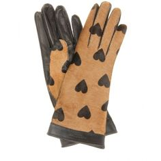 Nothing better than leather gloves! Protect your leather investment with the WhooHoo-Clean Leather Care. Available at http://www.amazon.com/Leather-Conditioner-Investment-Furniture-Leather/dp/B00EECWG7A. Burberry Prorsum Jenny Heart-Printed Calf Hair And Leather Gloves ($698) found on Polyvore