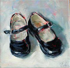 """Daily Paintworks - """"Les petites chaussures vernies noires"""" - Original Fine Art for Sale - © Evelyne Heimburger Evhe"""
