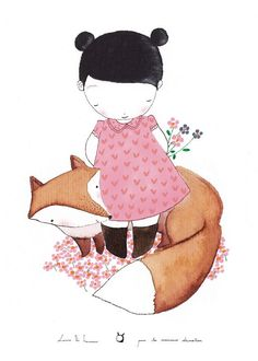 A fox and a girl by lesmoineauxdeco at http://www.etsy.com/listing/116928259/kids-poster-the-fox-kids-wall-art-kids