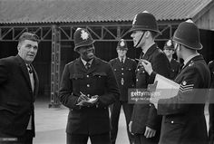 Britain's first black policeman PC Norwell Gumbs (Norwell Roberts) beginning his training with colleagues at Hendon Police College, London, 5th April 1967.