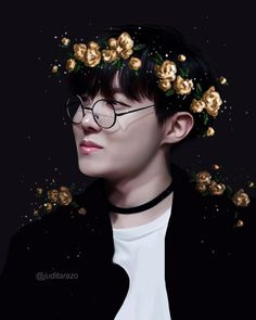 """juditarazo:  """"Jhope, our hope, our sunshine had to wear gold yellow flowers  """""""