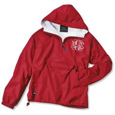 Buttercup Yellow Monogrammed Rain Jacket ($59) ❤ liked on Polyvore featuring outerwear, jackets, tops, shirts, red cape, red rain jacket, red jacket, yellow cape and waterproof jacket