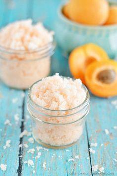 Polish your skin with some homemade apricot sugar scrub.
