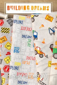 This fun children's construction fabric collection includes a large panel, repeating border stripe, prints with trucks, work zone signs, tossed words, stripes and grid plaids. Shop the available precuts, yardage, and fat quarter sets at www.shabbyfabrics.com!