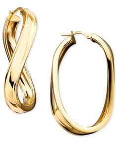 Sublime Hoop earrings ITALIAN SOLID Yellow gold 18K snap closure MADE IN ITALY