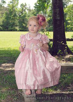 Light Pink Girls Silk Dress hand smocked