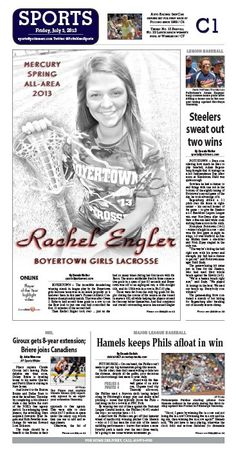 Boyertown's Rachel Engler earns the title of All- Area Athlete for lacrosse for spring 2013. http://www.pottsmerc.com/article/20130705/SPORTS01/130709691/all-area-boyertown-s-engler-named-girls-lacrosse-player-of-the-year