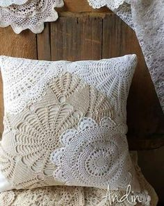 pretty using lace dollies to make a vintage pillow. So pretty using lace dollies to make a vintage pillow.So pretty using lace dollies to make a vintage pillow. So pretty using lace dollies to make a vintage pillow. Doilies Crafts, Lace Doilies, Crochet Doilies, Sewing Crafts, Sewing Projects, Diy Crafts, Doily Art, Decoration Shabby, Lace Decor