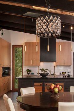 Black Counter Top Kitchen, Black Kitchen Countertops, Modern Kitchen Island, Asian Kitchen, Black Kitchen Cabinets, Light Wood Kitchens, Light Wood Cabinets, Modern Kitchen Lighting, Vaulted Ceiling Kitchen
