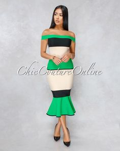 Chic Couture Online - Raquel Green Nude Ruffle Hem Bandage Dress Hobble Skirt, Chic Couture Online, Herve Leger, Clubwear, Party Dress, Pencil, Sequins, Nude, Gowns