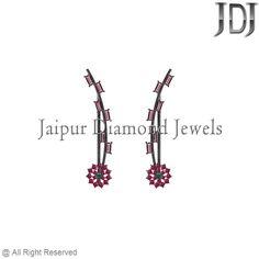Prong Setting Gemstone Baguettes Sterling Silver Floral Ear Pin Cuff Earrings #earrings #gemstone #baguettes #diamondjewelry #pavediamond #beautiful #fashion #handmade #cuff #flower