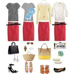 One key wardrobe piece styled four ways: Red Pencil Skirt