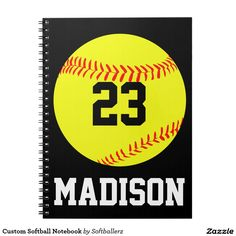 Custom Softball Notebook...add your own jersey number and name! #softball