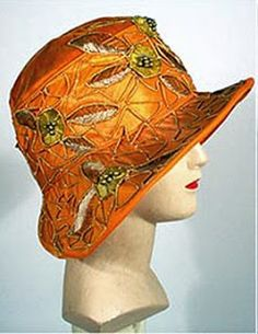1920s Orange Velvet Cloche with cord work, applique and embroidery.